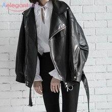 Aelegantmis Loose Women Soft Faux Leather Jacket With Belt Black Pu Leather Biker Jacket Lady Basic Coat Street Casual Outerwear
