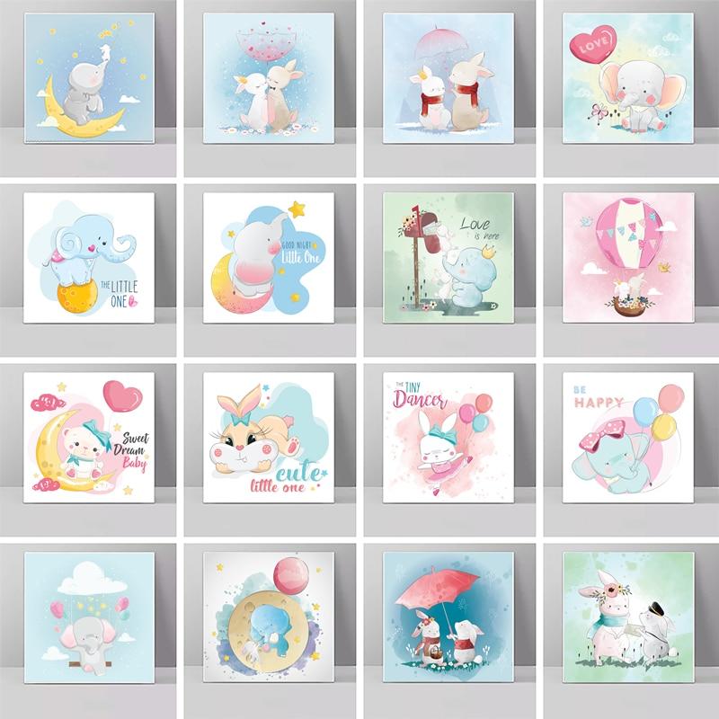 Мультяшные художественные плакаты, принты с милым кроликом и слоном, печатные фрески, украшение для дома, украшение для спальни мальчиков и ...