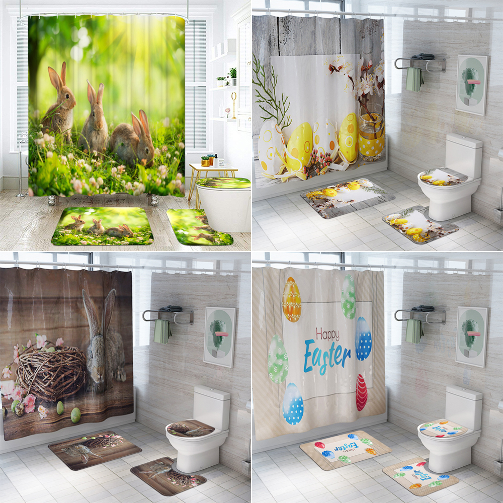 Easter Rabbit Egg Prints Bathroom Curtains Sets 3D Polyester Waterproof Shower Curtain Toilet Cover Mat Non-Slip Bath Rug Set