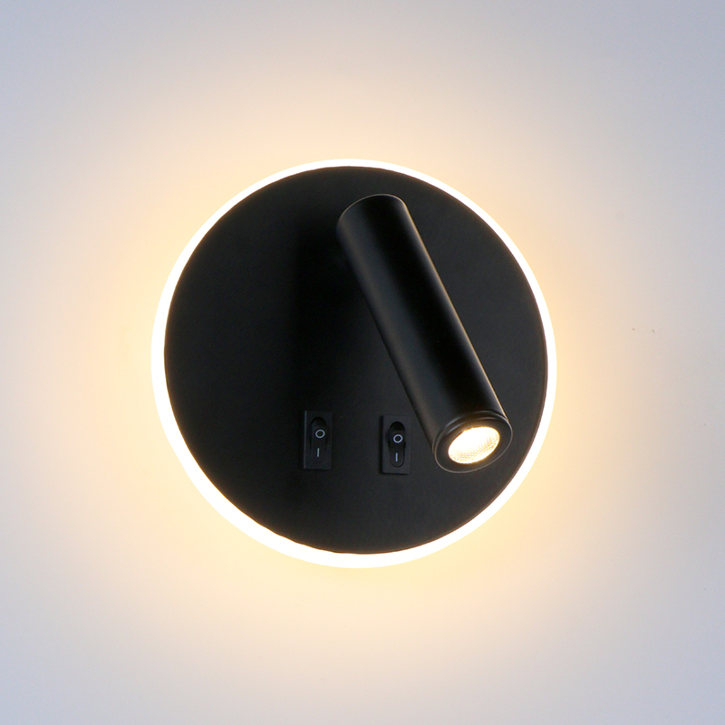 Bedroom Beside Wall Lamp LED Wall Light With Switch Reading Light Adjustable Lighting Angle Iron+Aluminum+ Acrylic AC90-260V