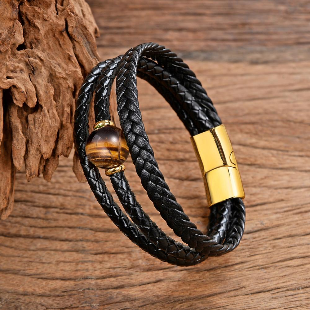 New Design Natural Stone Bracelet Men Multi Layer Handmade Weaved Genuine Leather Rope Chain Stainless Steel Magnet Male Jewelry