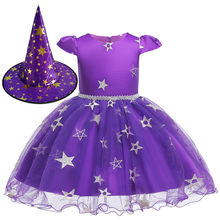 SAGACE Girl Clothes Kids Dresses For Girls Formal Dress+Hat Halloween Star Princess Dress Baby Children Outfit Jly30(China)