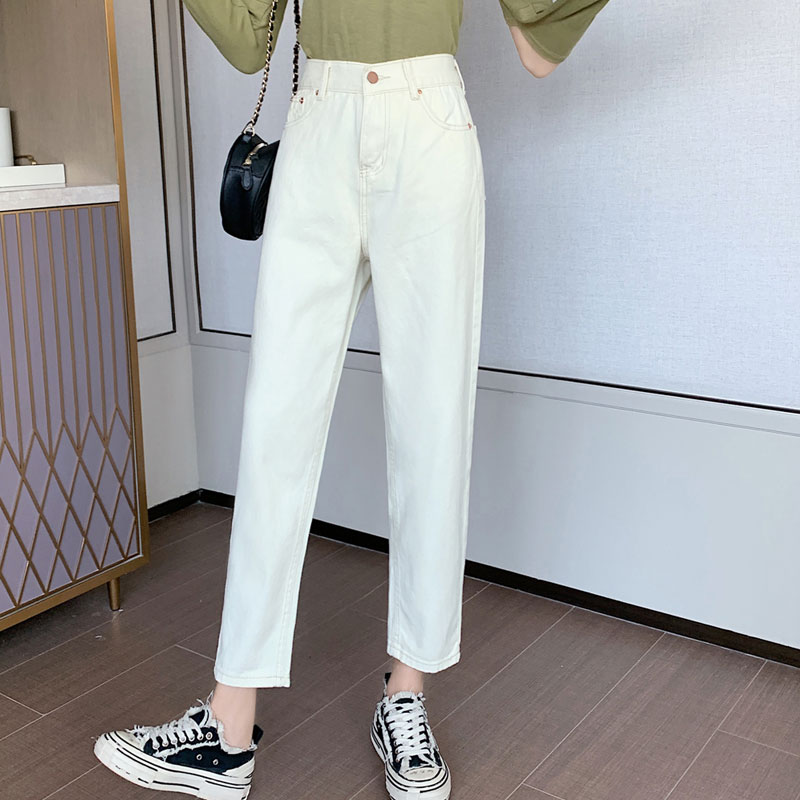 2020 Spring Wild Korean Loose High Waist Casual Elastic Waist Wide Leg Straight Jeans Women