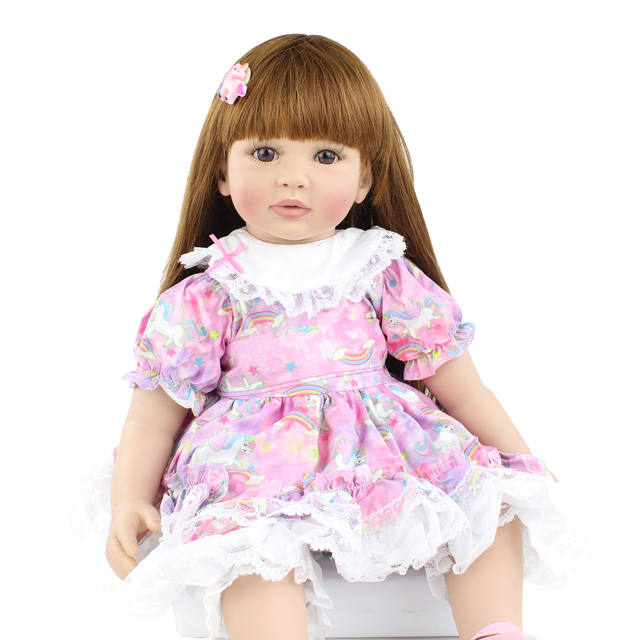 60cm Soft Silicone Reborn Babies Doll Toys For Girl Long Hair Princess Toddler Bebies Dress Up