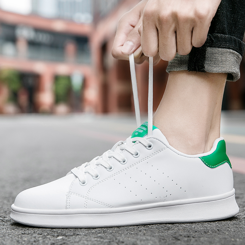 Hot Fashion Spring New Designer Breathble Running Shoes Men Pu Leather  Feminino Lace-up White Sneakers Men Basket Femme