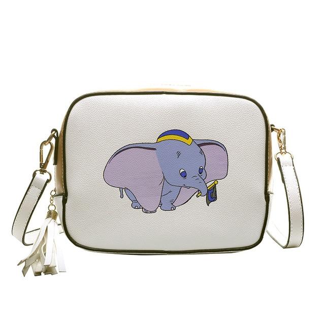 Disney Dumbo การ์ตูน lady messenger กระเป๋าสะพายกระเป๋า pu ผู้หญิงแฟชั่นกระเป๋าถือขนาดเล็กของขวัญกระเป๋าโทรศัพท์มือถือกระเป๋ากระเป๋า