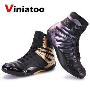 Новое качество боксерские ботинки мужские черные дышащие туфли для Реслинга; Большие размеры 38–46 светильник Вес бокс кроссовки F светильни...