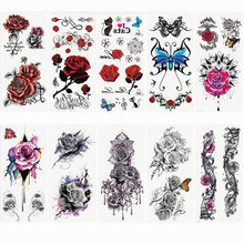 1pc Fashion Flowers Tattoo 90*190mm Women New Waterproof Temporary Black Tattoo Sticker Arm Body Art Children's Adult Hand Tatoo(China)