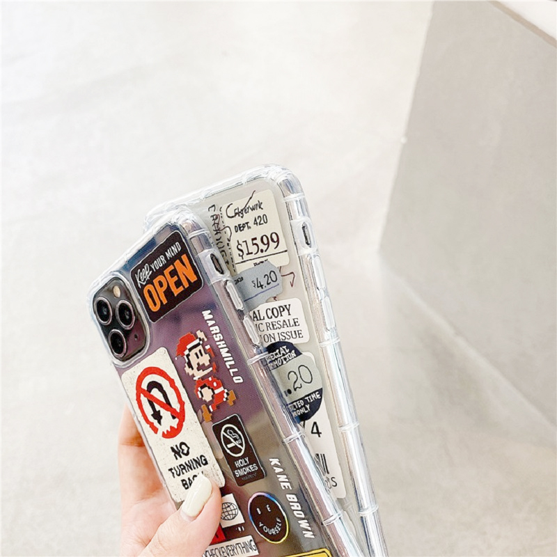 Fashion Retro Label Phone Cases For iPhone 11 12 Mini Pro XS Max X XR 7 8 Plus SE 2020 12Pro 11Pro Luxur Soft TPU Airbag Cover 3