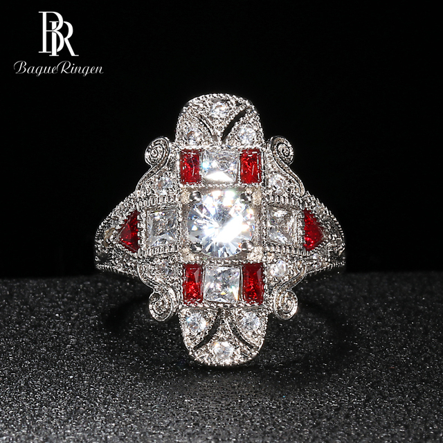 Bague Ringen Geometry Silver 925 Jewelry Gemstones Ring for Women Sapphire Ruby Exaggerated style Female Gift Wholesale Party 4