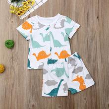 Emmababy 2PC Kids Boys Cartoon Dinosaur Print Button Soft Lovely Tops T-shirt+Shorts Pajama