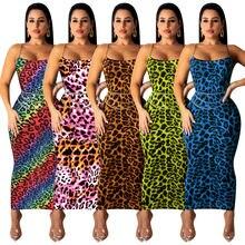 Женское облегающее платье без рукавов с леопардовым принтом