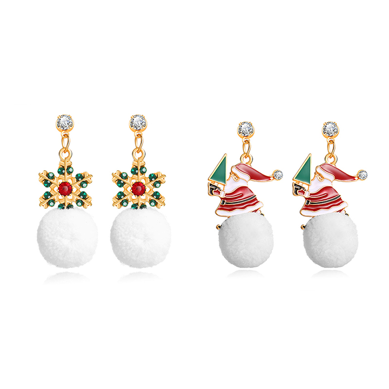 Fashion Cartoon Alloy Jewelry Snowflake Santa Claus <font><b>Plush</b></font> <font><b>Snowball</b></font> Zircon Women's Ear Stud Earrings Christmas Gifts For Girl image