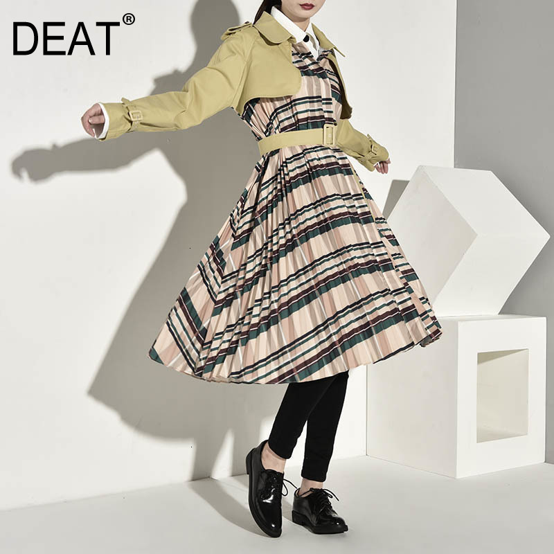 DEAT autumn and winter fashion clothes women khaki colot patchwork plaided   trench   high waist belts female windbreaker WJ14804L