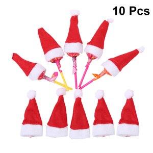 10pcs Christmas Lollipop Hat Candy Hats Mini Decorative Santa Claus Cap DIY Decoration For Christmas Party Favors Crafts Xmas