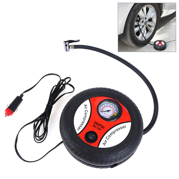1PC Wholesale Car Mini Air Pump Portable Car Air Compressor Heavy Duty Digital Tire Inflator Auto Tyre Pump 12V Emergency Tool image