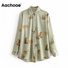 Aachoae Leopard stylowa koszula kobiety skręcić w dół kołnierz moda biurowa bluzka damska z długim rękawem Plus rozmiar topy damskie Blusa Feminina