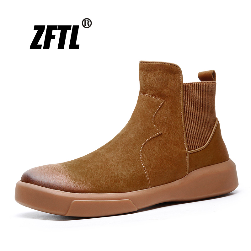 ZFTL New men ankle boots genuine leather man Chelsea boots brown Trend tooling shoes autumn winter slip-on male Chelsea boots125