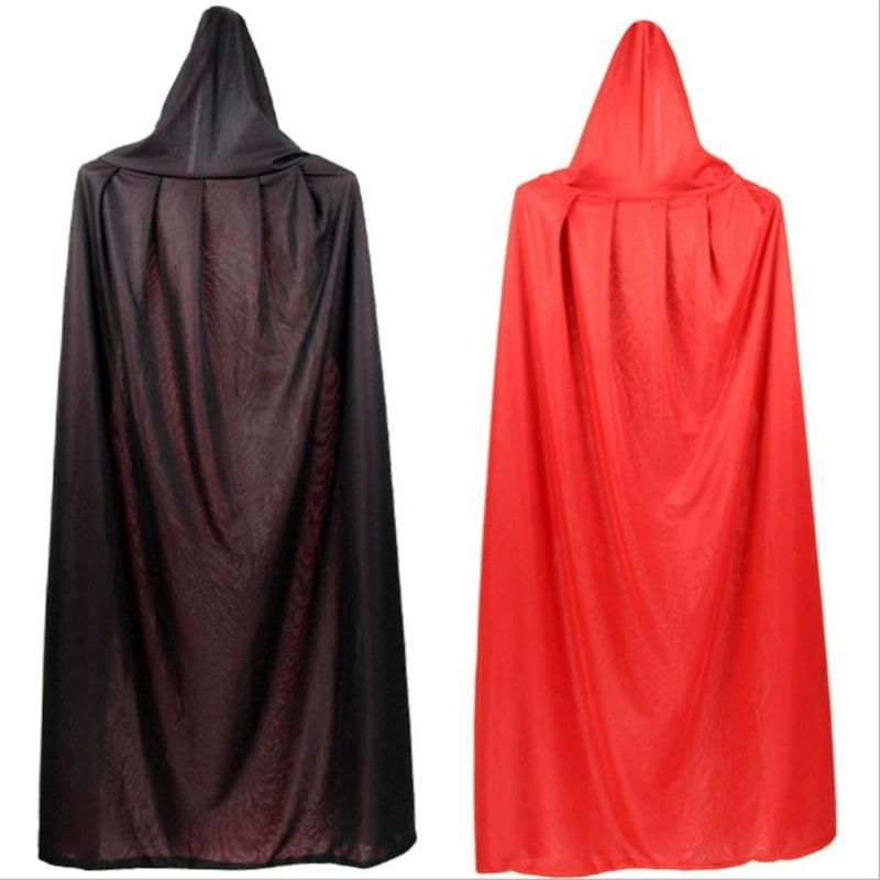 1PC Adult Kid Unisex Hooded Stand Collar Vampire Cloak Halloween Double Layer Reversible Cape For Party Supplies Cosplay Costume