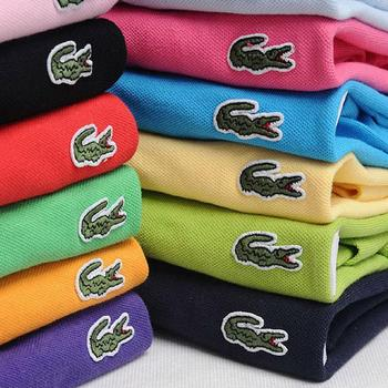Lacoste- Men Summer Polo Shirt Brand Fashion Cotton Short Sleeve Polo Crocodile Shirts Male Solid Jersey Breathable Tops Tees 2019 summer puppy stamp men polo shirt brand clothing pure cotton men business casual male polo shirt short sleeve breathable po