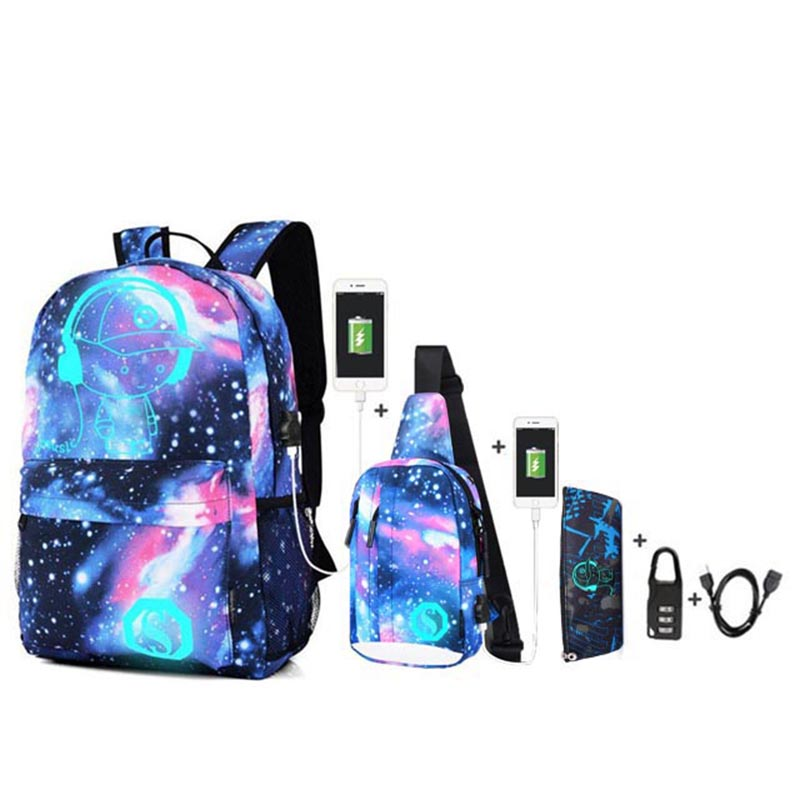 New 2020 Anti-theft Luminous School Bags For Boys And Girls Backpack With USB Charging Anime Backpack For Teenager Girls