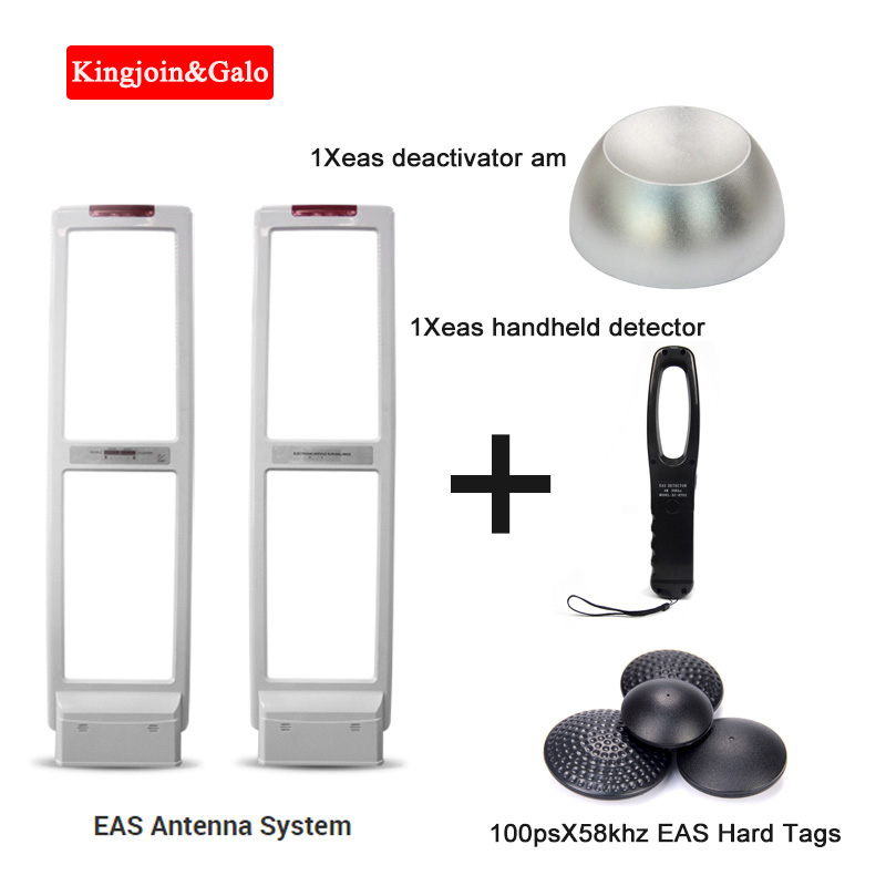 EAS System Security Door Am Alarm With Hard Labels Tags & Deactivator & Handheld Frequency Tester High Sensitive