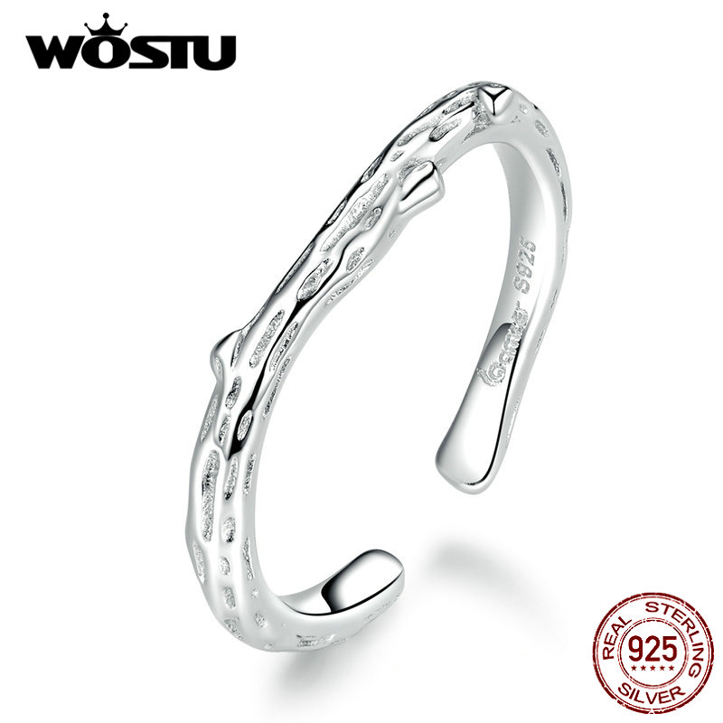 WOSTU Real 925 Sterling Silver Simple Style Branch Ring For Women Adjustable Rings Wedding Engagement Minimalist Jewelry CTR088