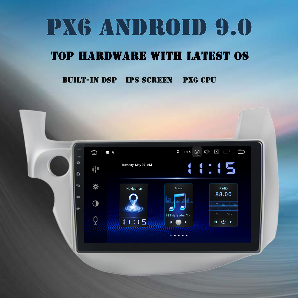 <font><b>Android</b></font> 9.0 Car Radio for <font><b>Honda</b></font> <font><b>Fit</b></font> Jazz 2008 <font><b>2009</b></font> 2010 2011 2012 Multimedia Player PX6 DSP HDMI 4Gb+64Gb IPS screen wifi BT RDS image