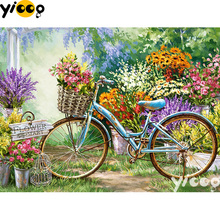 Full Square/Round drill diamond Painting Garden bicycle 5D DIY diamond embroidery mosaic Decoration painting BX0106 homfun full square round drill 5d diy diamond painting garden