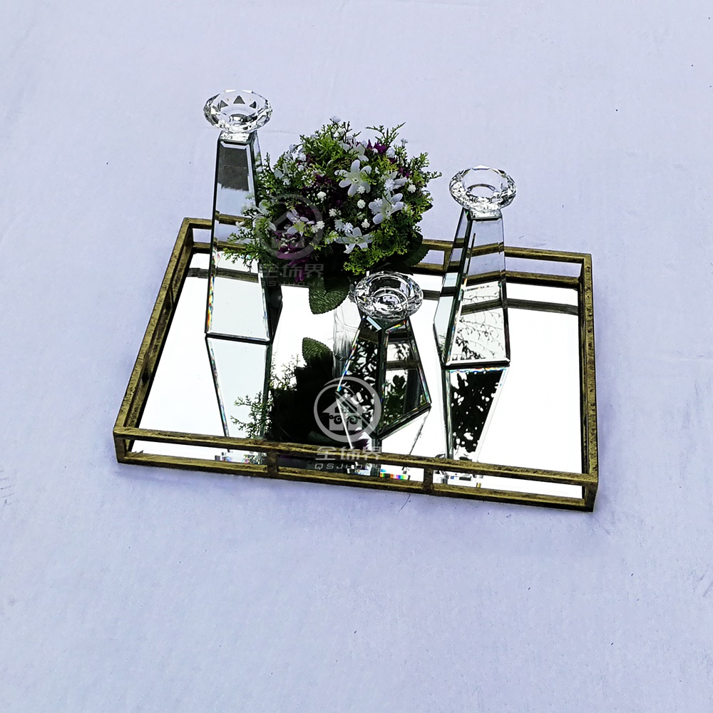 Antique Rectangle Glass Mirrored Tray Square Table Makeup Tray Mirror Storage Serving Tray Wedding Decor Organizer D F0018 Figurines Miniatures Aliexpress