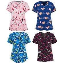 Uniforme da enfermeira das mulheres manga curta com decote em v topos de trabalho uniforme dos desenhos animados imprimir blusa uniformes clínicos mulher roupas de proteção