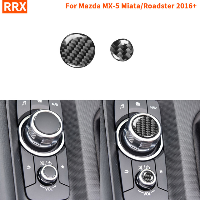 פחמן סיבי מולטימדיה כפתורי כיסוי לקצץ מדבקת מרכז קונסולת עבור מאזדה MX 5 מיאטה Roadster 2016 + MX5 ND אביזרי רכב