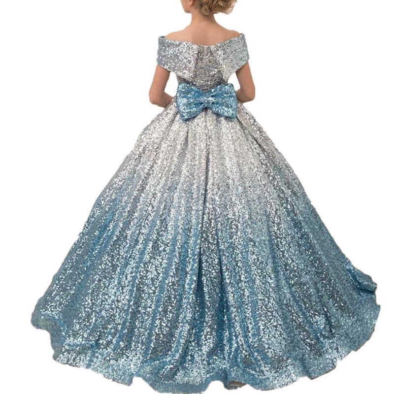 Princess Little Girls Dress Evening Party Vestidos De Gala Long Kids Ball Gown Blue Sequin Glitz Flower Girls Pageant Dresses Flower Girl Dresses Aliexpress