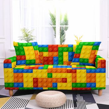 Colorful Block Pattern Elastic Slipcovers Sofa Universal Sofa Cover Stretch Sectional Couch Cover Sofa Cover For Living Room 10