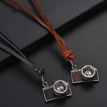 Camera Pendant Maxi Necklace Men Woman Choker Genuine Leather Necklace(China)