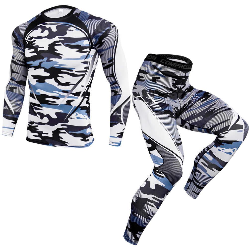 迷彩 Tシャツメンズトラックスーツタイトなジョギングシャツ速乾ボディービル男性 Tシャツフィットネス圧縮セット MMA