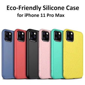 Eco-Friendly Silicone Case For iPhone 11 Pro Max 7 8 Plus XR XS MAX Phone Case Cover For iPhone 6 6s Plus X Soft TPU Wheat Straw