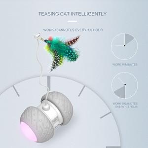 Image 2 - スマート電子猫のおもちゃインタラクティブ自動回転ランニングledティーザーペット猫ファニー玩具猫スティック羽のおもちゃusb