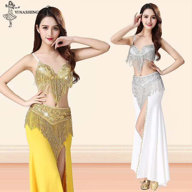 Belly Dance Performance Costume For Women Indian Dance Split Skirt Beaded Sequin Tassel Bra Belt Oriental Dance Costume 3pcs Set