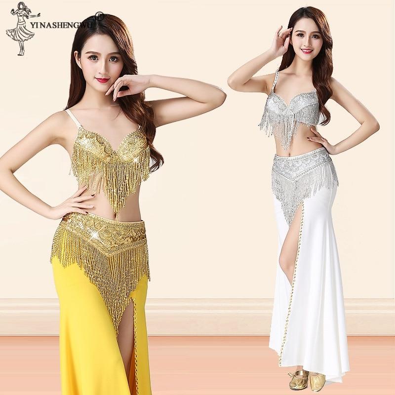 Belly Dance Performance Costume For Women Indian Dance Split Skirt Beaded Sequin Tassel Bra Belt Oriental Dance Costume 3pcs Set