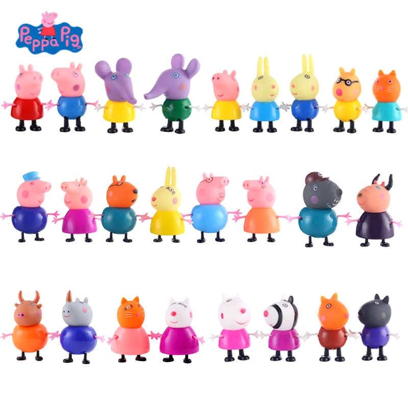 25Pcs/Set Peppa Pig George Pig Family Dad Mom Pig Friend Anime Action Figure Model Doll Child Birthday Xmas Gift