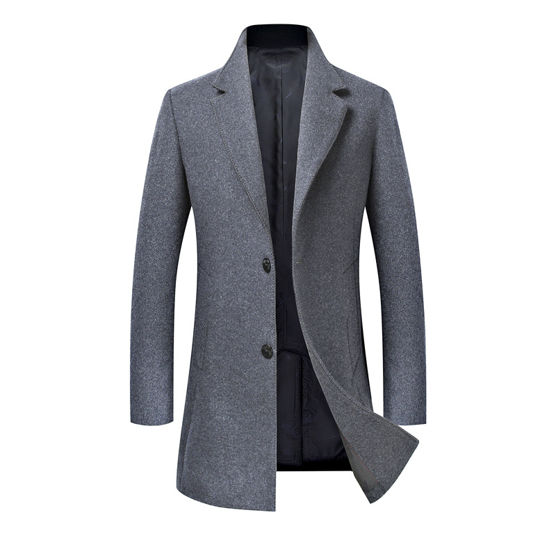 Men Slim Jacket Coat Black Gray Brand Double-breasted Wool Coat Nice Winter Thick Warm Warm Luxury Business Casual
