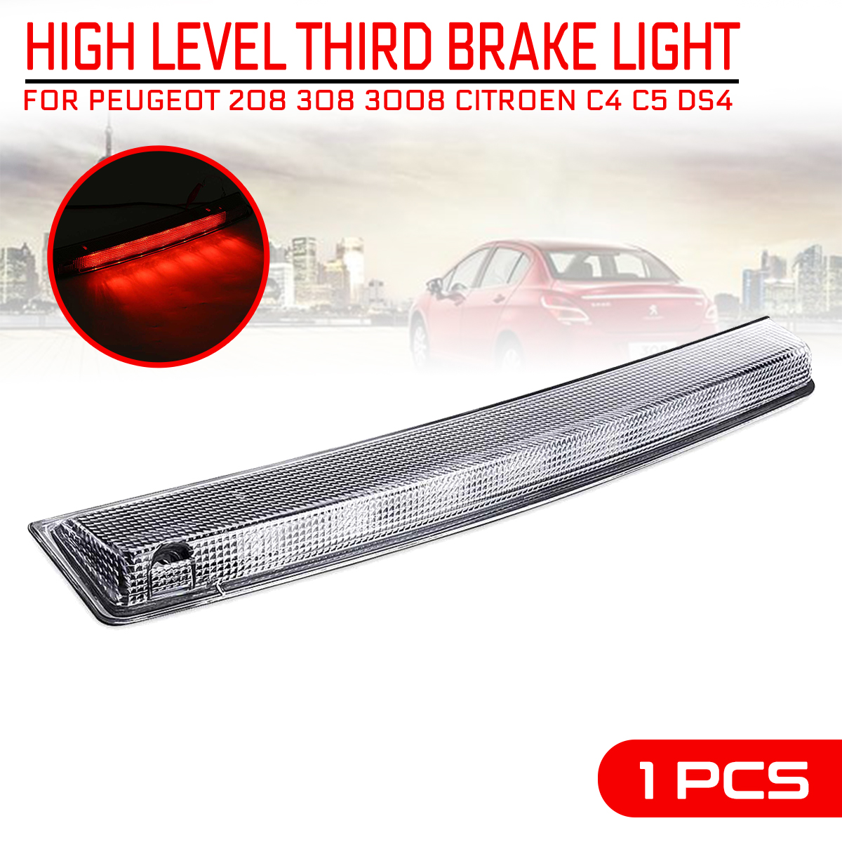 for <font><b>Peugeot</b></font> 208 <font><b>308</b></font> 3008 For Citroen C4 C5 DS4 Car Additional High Brake Stop <font><b>Light</b></font> Third High Mount Turn Signal <font><b>LED</b></font> Lamp image