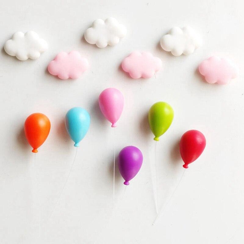 6 uds. Forma de globo de dibujos animados bonito imán para nevera ABS Mini Calcomanía para refrigerador hogar pizarra porta mensajes artesanías Accesorios