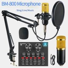 Bm 800 estúdio profissional microfone condensador v8 placa de som karaoke bluetooth alto-falante com microfone suporte condensador usb mic