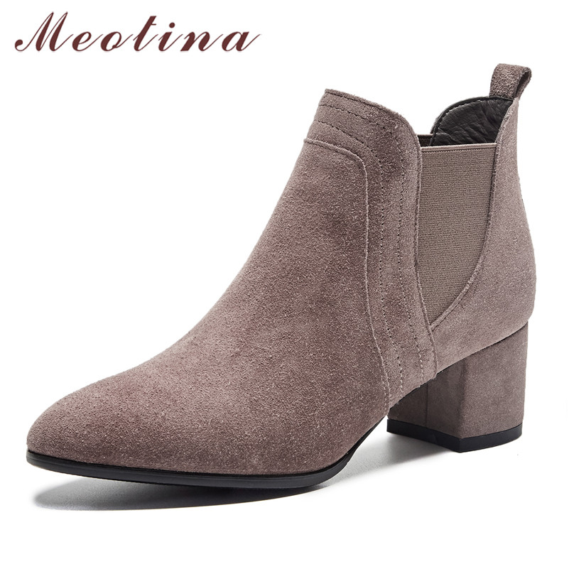 Meotina Winter Chelsea Boots Women Cow Suede Thick High Heel Ankle Boots Real Leather Pointed Toe Shoes Female Autumn Size 33-40
