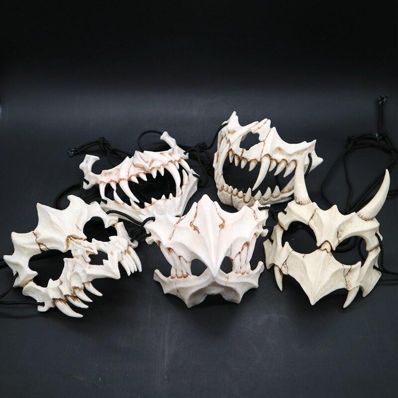 Halloween résine os Cosplay masque japonais dieux demi-visage couvert Cosplay masque pour Anime exposition Festival partie Cosplay accessoires
