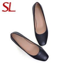 цена на SAILING LU Black Shoes for Women Khaki Office Ladies Work Heels Comfort Mid-heeled PU Pumps Square Toe Dress Shoes  XWD8009
