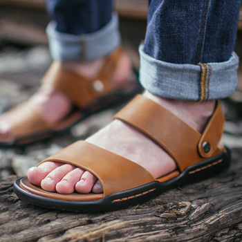 Fashion Casual Genuine Leather Gladiator Sandals For Men Basic Flat Beach Sandals Sewing Solid Sandale Homme