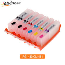 Jetvinner 6-color PGI 480 CLI 481 XXL Refillable Ink Cartridge For Canon PIXMA TS8140 TS9140 Printer With Auto Reset Chips jp version ct350865 ct350868 drum reset chips for xerox docucentre iv c5580 6680 7780